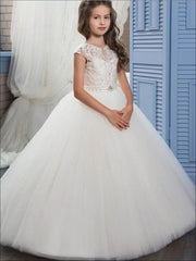 Girls Pearl Embellished Lace Mesh Communion Gown - White / 2T - Girls Gowns