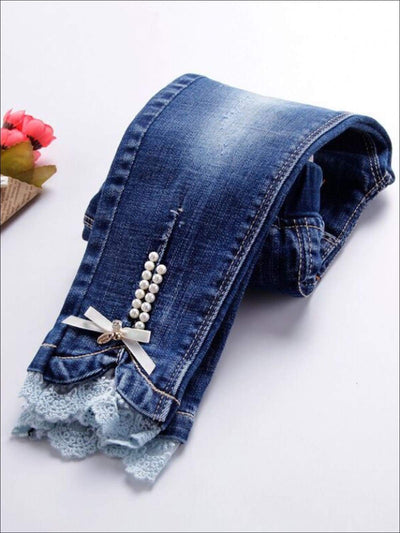 Girls Pearl Embellished Lace Trimmed Skinny Jeans - Girls Jeans