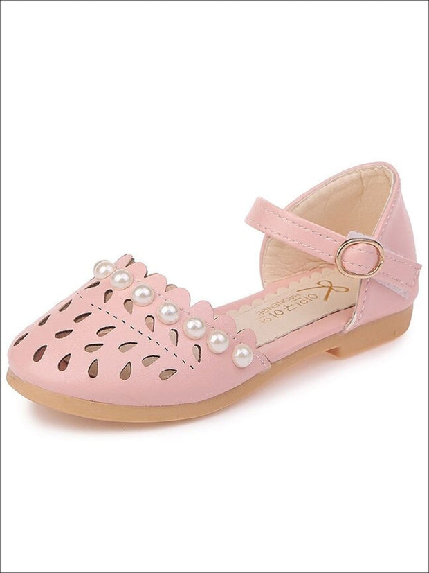 Girls Pearl Embellished Princess Sandals By Liv and Mia - Pink / 5.5 - Girls Sandals