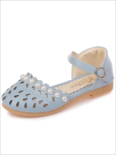 Girls Pearl Embellished Princess Sandals By Liv and Mia - Sky blue / 5.5 - Girls Sandals