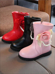 Girls Pearl Embellished Rose Applique Boots - Girls Boots