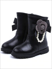 Girls Pearl Embellished Rose Applique Boots - Black / 8 - Girls Boots