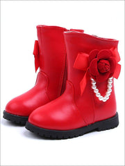 Girls Pearl Embellished Rose Applique Boots - Red / 8 - Girls Boots