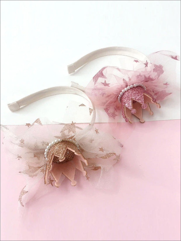 Girls Pearl Embellished Shimmery Crown Headband (2 Color Options) - Hair Accessories