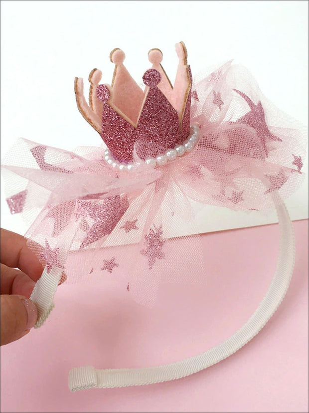 Girls Pearl Embellished Shimmery Crown Headband (2 Color Options) - Pink - Hair Accessories