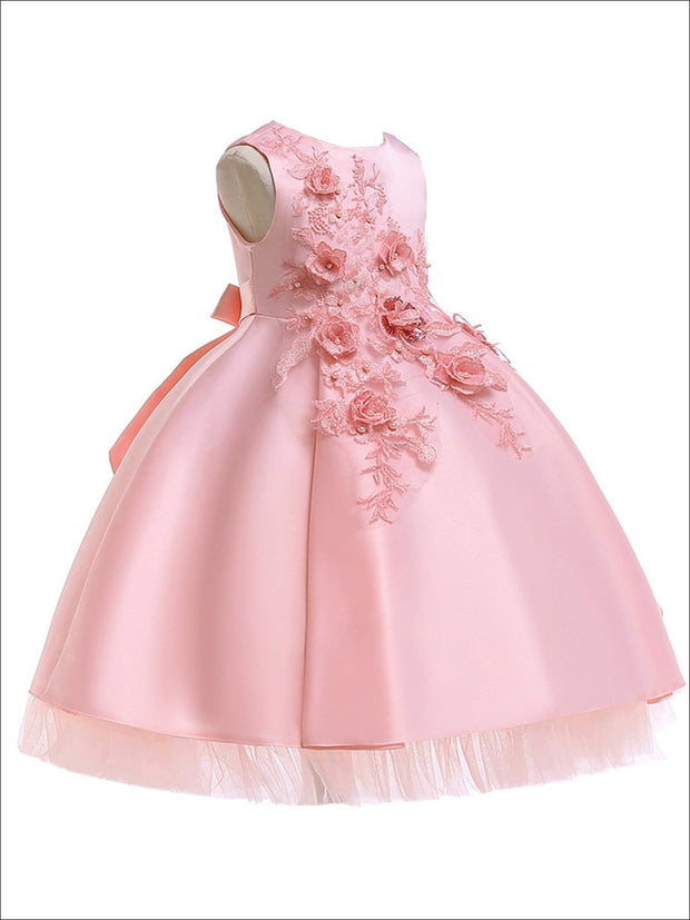 Girls Pearl Embellished Tiered Holiday Dress With Flower Embroidery - Girls Fall Dressy Dress