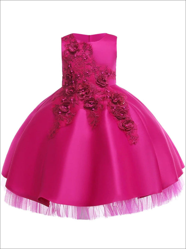 Girls Pearl Embellished Tiered Holiday Dress With Flower Embroidery - Hot Pink / 3T - Girls Fall Dressy Dress