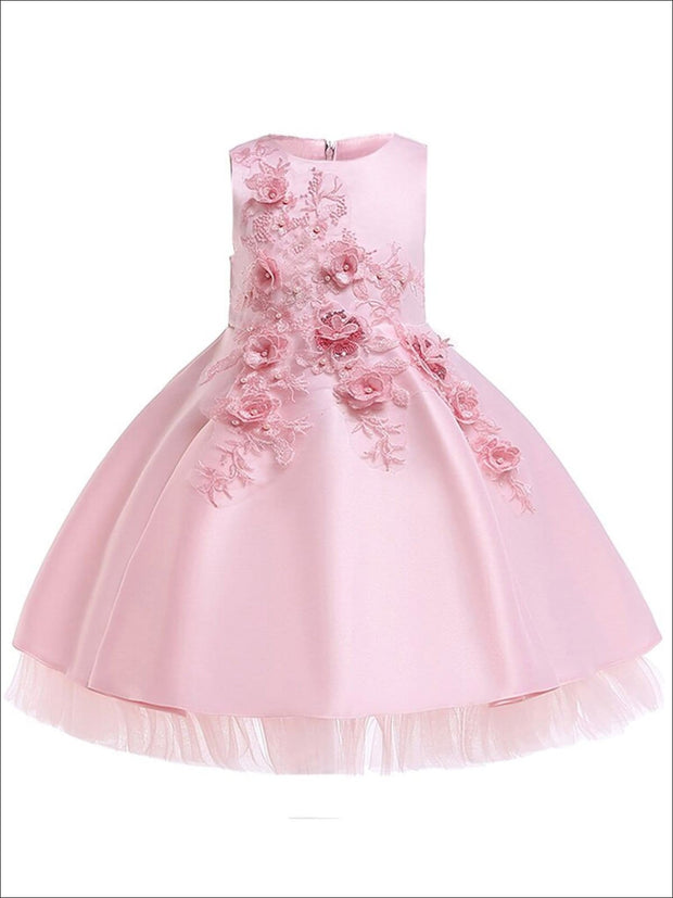 Girls Pearl Embellished Tiered Holiday Dress With Flower Embroidery - Pink / 3T - Girls Fall Dressy Dress