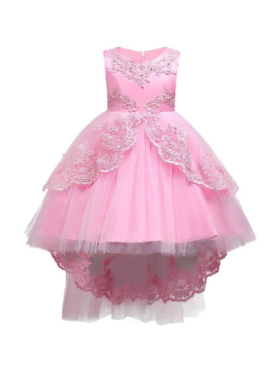 Girls Pearl Embroidered Sleeveless Flower Girl & Special Occasion Party Dress - Pink / 3T - Girls Spring Dressy Dress