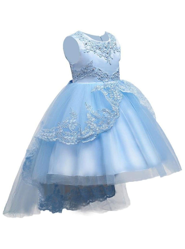 Girls Pearl Embroidered Sleeveless Flower Girl & Special Occasion Party Dress - Sky Blue / 3T - Girls Spring Dressy Dress