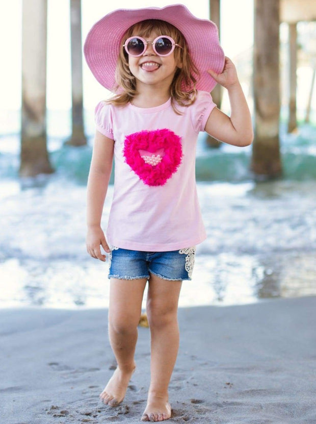 Girls Pearl Heart Applique Top - 2T / Pink - Girls Spring Top