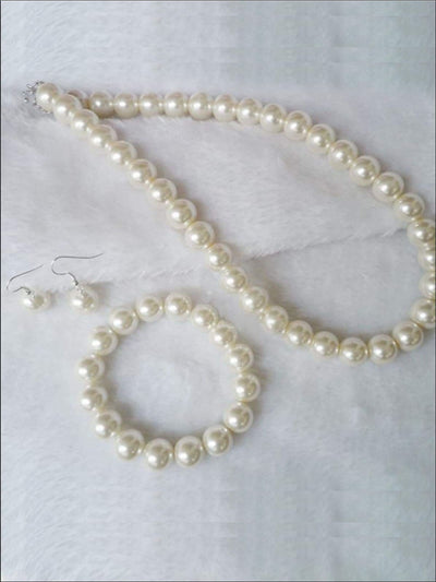 Girls Pearl Necklace Earrings & Bracelet Set - Girls Accessories