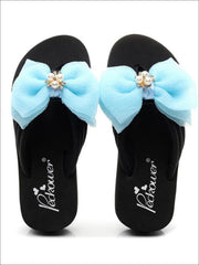 Girls Pearl & Rhinestone Bow Embellished Flip Flops - Girls Slides