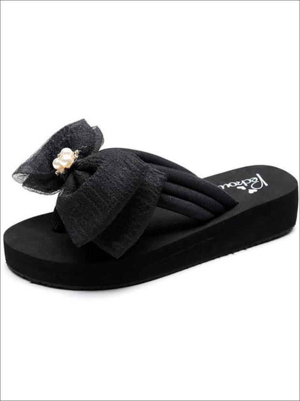 Girls Pearl & Rhinestone Bow Embellished Flip Flops - Black / 1 - Girls Slides