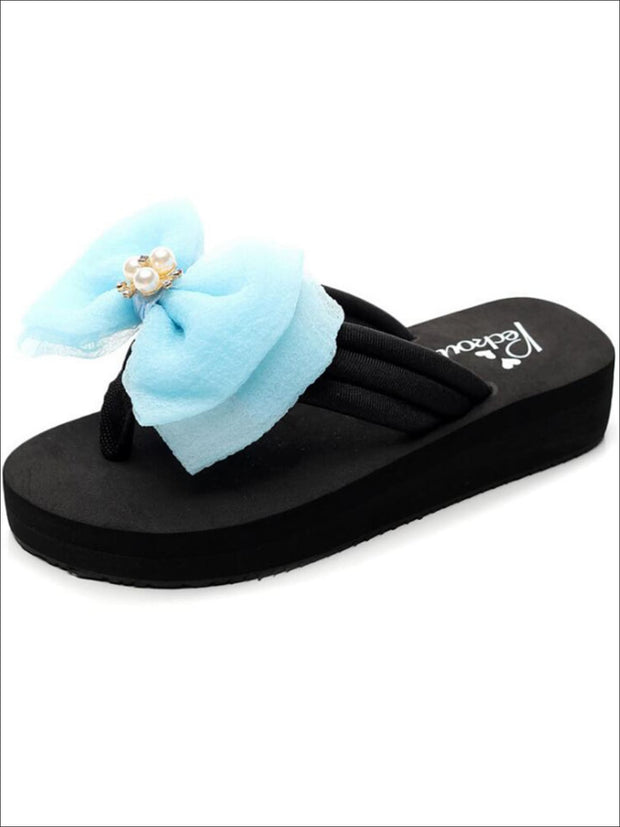 Girls Pearl & Rhinestone Bow Embellished Flip Flops - Blue / 1 - Girls Slides