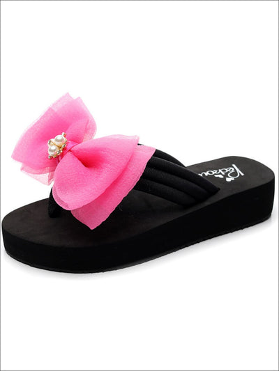 Girls Pearl & Rhinestone Bow Embellished Flip Flops - Hot Pink / 1 - Girls Slides