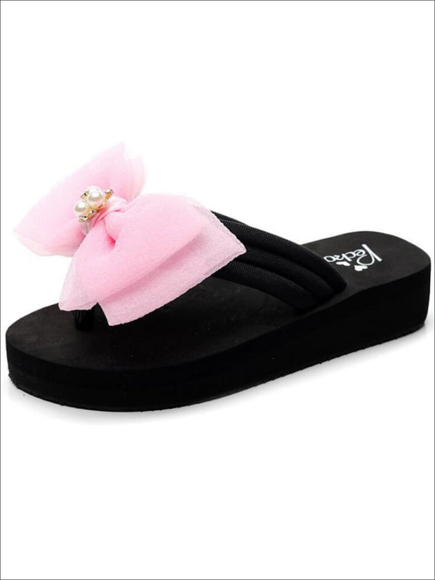 Girls Pearl & Rhinestone Bow Embellished Flip Flops - Pink / 1 - Girls Slides