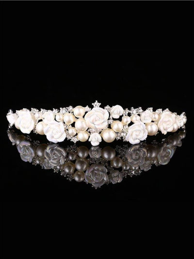Girls Pearl Rose and Rhinestone Tiara - Hair accessories