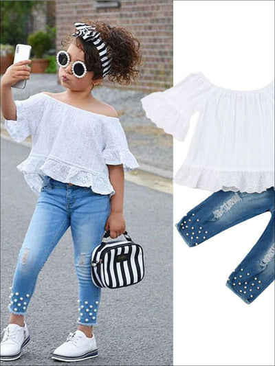 Girls Pearl Studded Denim and Boho Lace Top Set - Girls Spring Casual Set