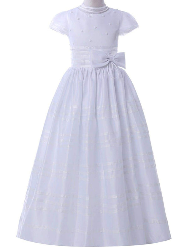 Girls Pearled Communion Gown with Ribbon - Girls Gowns