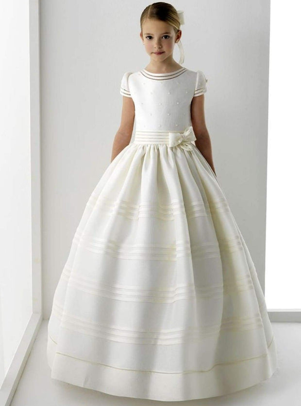 Girls Pearled Communion Gown with Ribbon - White / 2T - Girls Gowns