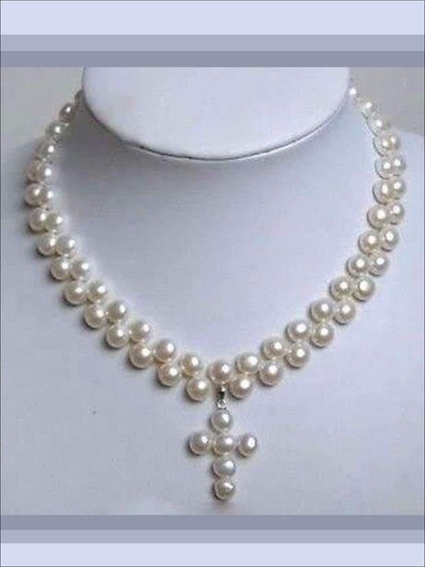 Girls Pearls Cross Pendant Necklace - One Size - Necklaces