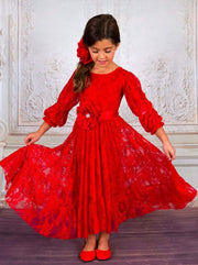 Girls Peasant Sleeve Lace Ruffled Midi Dress - Red / 2T/3T - Girls Fall Dressy Dress