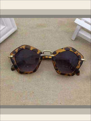 Girls Pentagon Sunglasses - leopard / One - Sunglasses