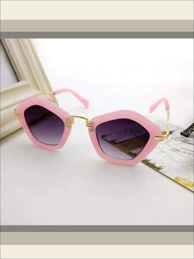 Girls Pentagon Sunglasses - pink / One - Sunglasses