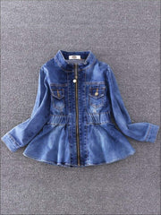 Girls Peplum Denim Jacket - Girls Spring Top