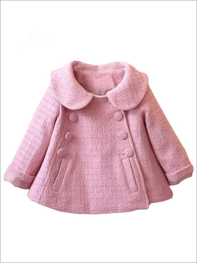 Girls Peter Pan Collar Double Breasted A-Line Coat (3 Color options) - Pink / 24M - Girls Jacket