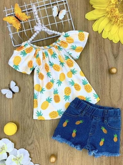 Girls Pinapple Print Top and Patched Denim Shorts Set - Yellow / 2T - Girls Spring Casual Set