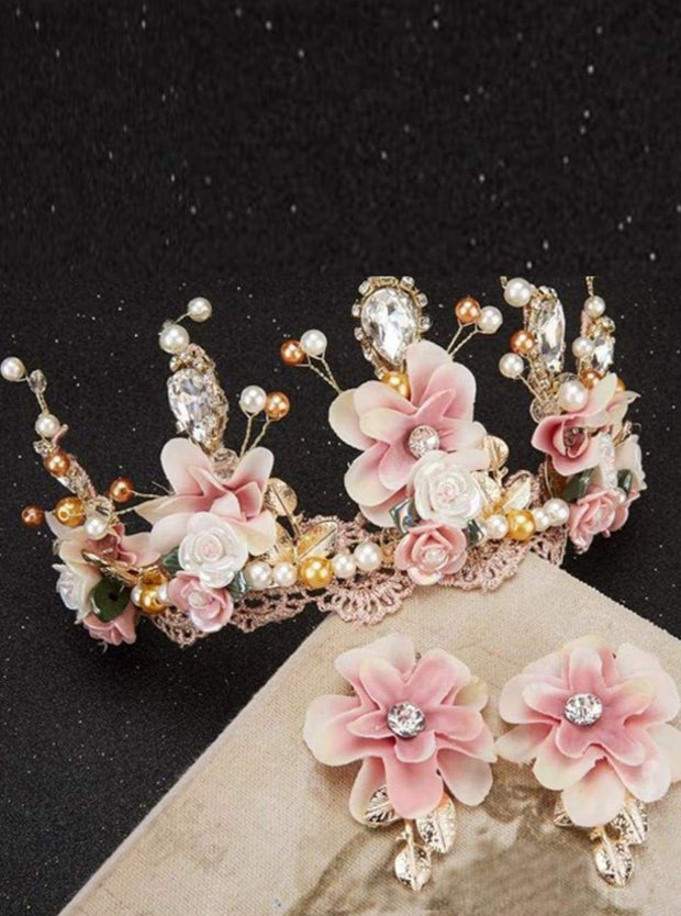 Girls Pink and Creme Flower Crystal & Pearl Embellished Crown with Earrings - Accessories