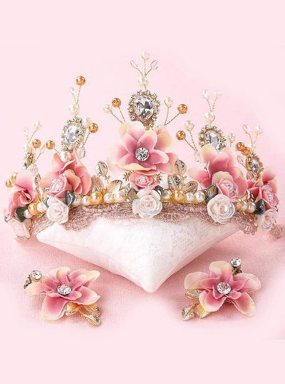 Girls Pink and Creme Flower Crystal & Pearl Embellished Crown with Earrings - One Size - Accessories