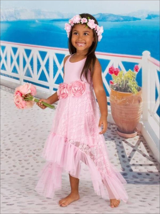 Girls Pink Ballet Ruffled Side Tail Halter Top Dress with Large Rosette Flower Trim - Girls Lace Side Tail Twirl Dress
