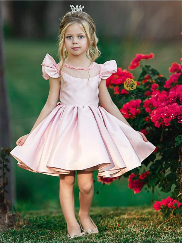 Girls Pink Beaded Flutter Sleeve Special Occasion Dress with Large Bow - Girls Flower Girl Dresses