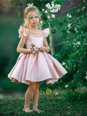 Girls Pink Beaded Flutter Sleeve Special Occasion Dress with Large Bow - Pink / 8 - Girls Flower Girl Dresses