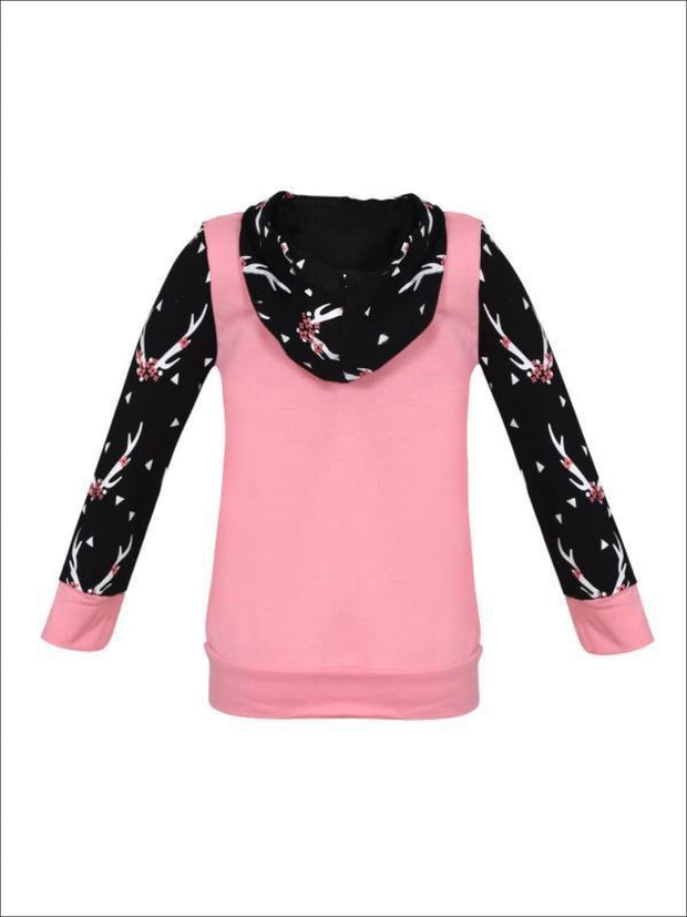 Girls Pink & Black Floral Antler Ears Print Pocket Hoodie & Leggings Set - Girls Fall Casual Set