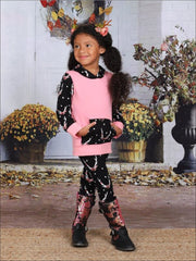 Girls Pink & Black Floral Antler Ears Print Pocket Hoodie & Leggings Set - Pink / S-3T - Girls Fall Casual Set