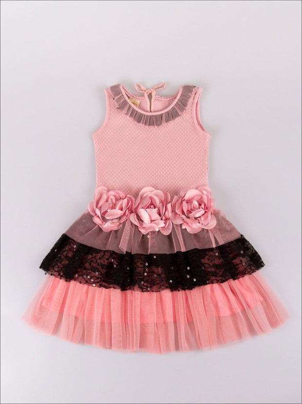 Girls Pink & Black Floral Tiered Tank Dress