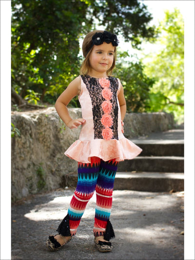 Girls Pink & Black Peplum Top & Leggings