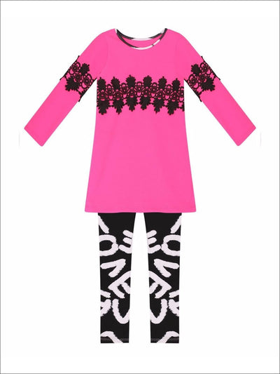 Girls Pink & Black Side Slit Jacquard Tunic with Matching Leggings Set - Fall Low Stock