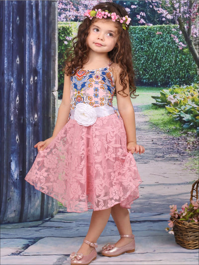 Girls Pink & Blue Medallion Print Hi-Low Pink Lace Circle Skirt Twirl Dress with Flower Belt - Girls Spring Dressy Dress