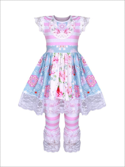 Girls Pink & Blue Striped & Floral Flutter Sleeve Lace Ruffled Tunic & Matching Leggings Set - Girls Spring Casual Set