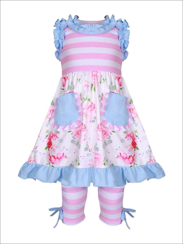 Girls Pink & Blue Striped & Floral Ruffled Front Pocket & Matching Bow Leggings Set - Girls Spring Casual Set