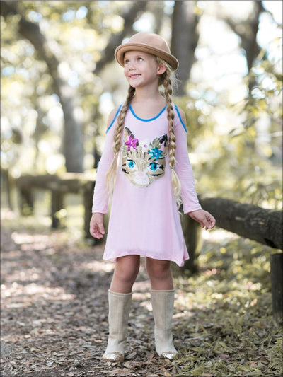 Girls Pink Boho Cat Applique Cold Shoulder A-Line Dress - Fall Low Stock