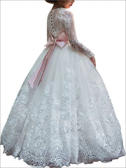 Girls Pink Bow Embellished White Communion Gown - Girls Gowns
