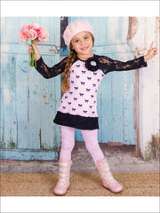 Girls Pink Bow Lace Sleeve Tunic & Leggings Set - Fall Low Stock