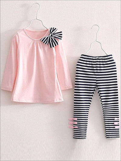Girls Pink Bow Shoulder Pullover & Striped Leggings Set - Pink / 3T - Girls Fall Casual Set