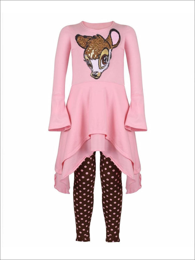 Girls Pink & Brown Double Layer Cuffed Sleeve Tunic & Leggings Set with Bambi Applique - Girls Fall Casual Set